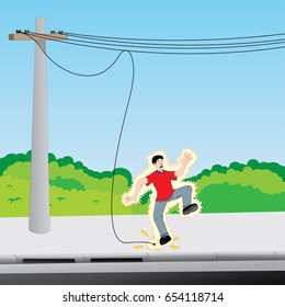 Illustration of electrocuted man with exposed electric wire. Ideal for catalogs, safety and educational information