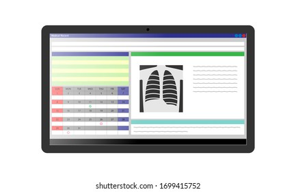 Illustration of an electronic medical record displayed on a tablet