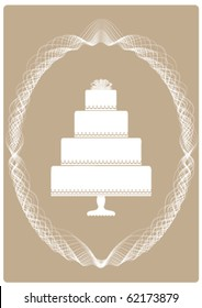 Illustration of an Elegant Four Layer Cake Invitation or Announcement on a Pearl Grey colored background with scroll design framing.