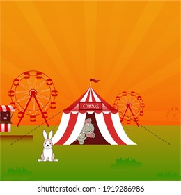 Illustration Of Elephant In Circus Tent With Rabbit, Ferris Wheel On Orange And Green Background.