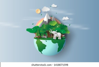 illustration of elephant in green trees forest,Creative Origami design world environment and earth day concept idea.Landscape Wildlife in green nature plant by rainbow pastel.paper cut,craft.vector