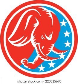 Illustration of an elephant head with tusk facing down viewed from the side set inside circle with american stars flag in the background done in retro style.