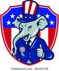 Illustration of an elephant mascot wearing hat and suit showing thumbs up set inside shield with USA American stars and stripes in background done in cartoon style.
