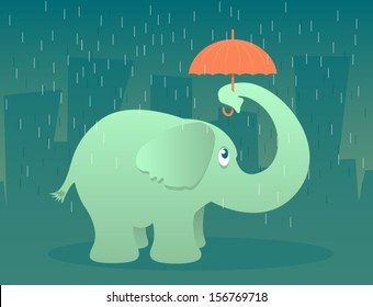 Illustration of an elephant standing in the rain under a tiny umbrella/Vector Elephant with Umbrella