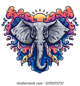 Illustration of an elephant in a vector. Perfect ethnic background, tattoo art, yoga, african, indian, thai. Use for printing, posters, T-shirts with textiles.