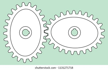 Illustration of the elliptical gear transmission