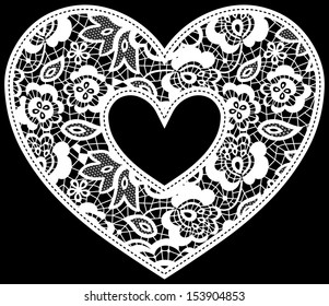 illustration of embroidery lace heart applique isolated on black, ideal for wedding invitation or decoration