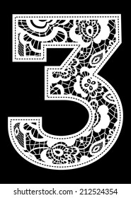 illustration of embroidery lace number isolated on black background