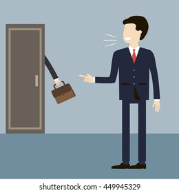 Illustration employee layoffs. Angry boss shouting on the dismissal of a manager and a finger points to the door. Unemployment, crisis, jobless and fired concept. Vector flat design.
