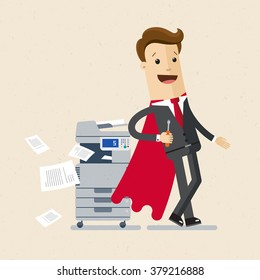 Illustration of employee, office master.  A  man  in a suit of super hero stand near a printer. Vector, EPS 10