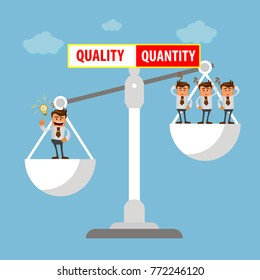 Illustration of employment policy, according to which preference is not Number of employees but their quality. Vector illustration