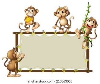 Illustration of an empty banner with monkeys on a white background