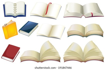 Illustration of the empty books on a white background