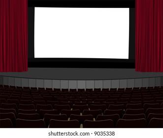 illustration of empty cinema screen in empty cinema hall
