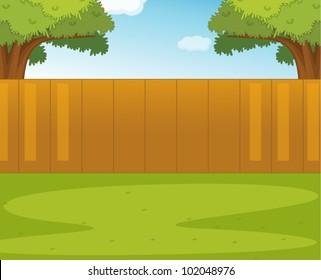 Illustration of an empty garden