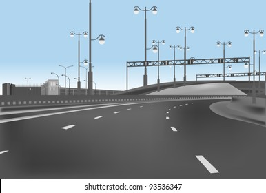 illustration with empty highway and street lamps