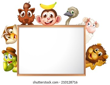 Illustration of an empty signboard surrounded with animals on a white background
