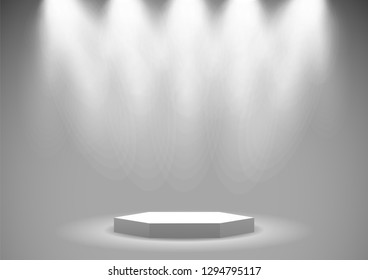 illustration of empty stage podium with spotlights in blank studio room for presentation