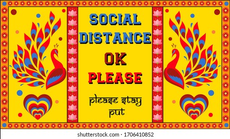Illustration encouraging social distancing resembling the back of an indian truck