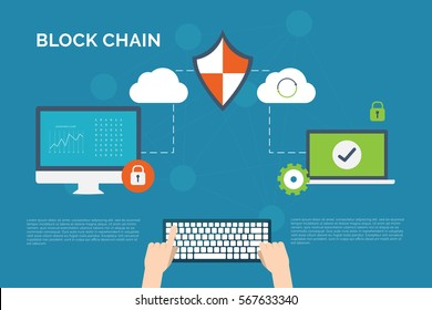 Illustration of encryption and decryption technology background. Concept of block chain tech and information security.