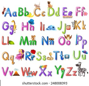 Illustration of an English alphabet poster