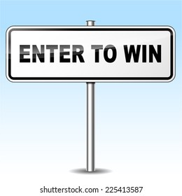 Illustration of enter to win sign on sky background