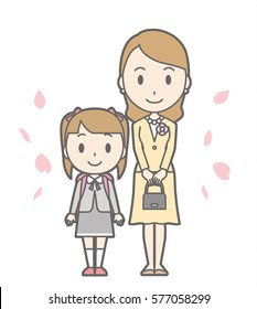 Illustration of entrance ceremony at elementary school vol.12 (Mother and elementary school girl)
