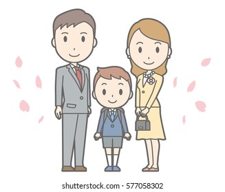 Illustration of entrance ceremony at elementary school vol.01 (Parents and elementary school boy)