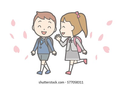 Illustration of entrance ceremony at elementary school vol.07 (Elementary school girls and boys are walking)