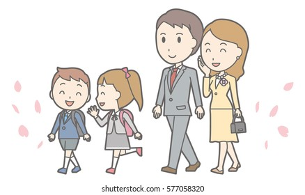 Illustration of entrance ceremony at elementary school vol.08 (Parents and elementary school girls and boys are walking)