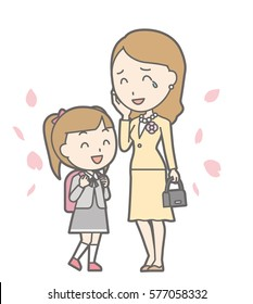 Illustration of entrance ceremony at elementary school vol.14 (Smiling mother and daughter)
