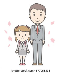 Illustration of entrance ceremony at elementary school vol.11 (Father and elementary school girl)