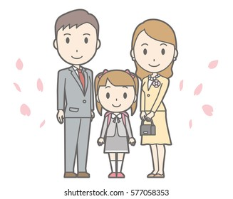 Illustration of entrance ceremony at elementary school vol.02 (Parents and elementary school girl)