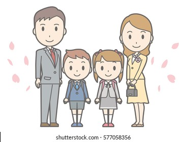 Illustration of entrance ceremony at elementary school vol.03 (Parents and elementary school boys and girls)