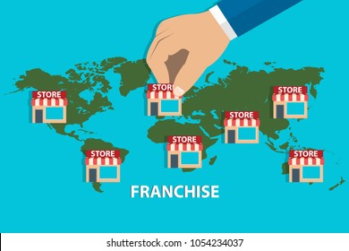 Illustration of entrepreneur opening store chain across world under name of franchise, creating a chain. Opening a new subsidiary store, filial, branch. Eps vector illustration, horizontal image, flat