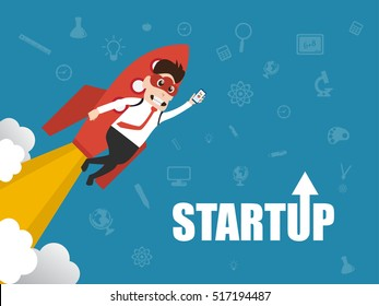 Illustration of entrepreneurship, start up business man concept. Character design of cloud mask and igniting rocket on technology icons background.