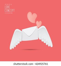 Illustration envelope with wings like Cupid Sending love and heart.Valentine's Day. letter  icon symbol simple abstract on red background. vector.