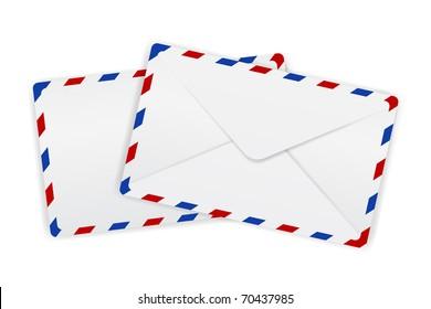 illustration of envelopes with borders kept on isolated background