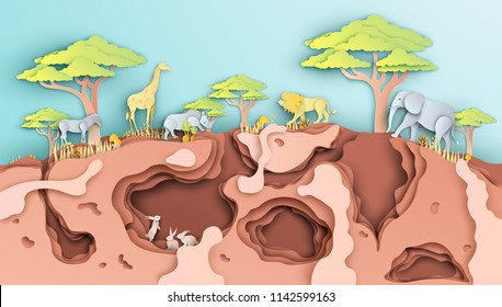 Illustration of the environment and animals wildlife in Africa. Graphic for landscapes and wildlife in Savannah, Africa. animals wildlife in paper art. paper cut and craft style. vector, illustration.
