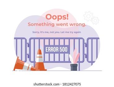 An illustration of Error 500. modern flat design concept of gate barrier for website
