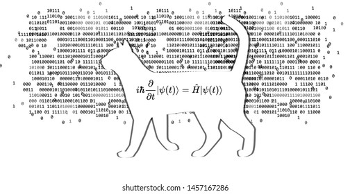 Illustration of Erwin Schrodinger (or Schroedinger) thought experiment, where the cat is both alive and dead due to  interpretations of quantum mechanics and state known as a quantum superposition.