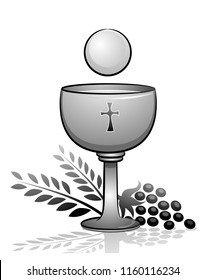 Illustration of the Eucharist with Goblet with Wine and Grapes and Wheat. Holy Communion