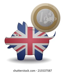 illustration of a euro coin going into a piggy bank with the flag of UK