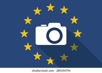 Illustration of an European Union  long shadow flag with a photo camera