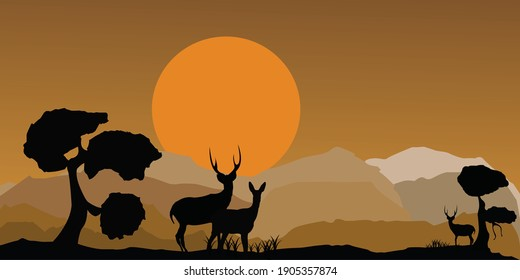 an illustration of the evening scenery and there are some deer eating grass