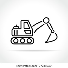Illustration of excavator icon on white background