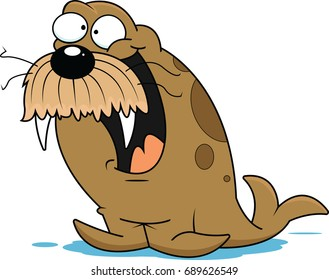 Illustration of an excited walrus.