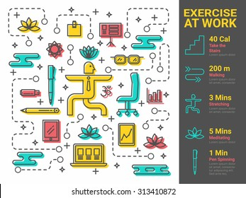 Illustration of exercise at work infographic concept