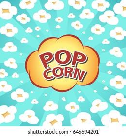 Illustration of exploding popcorn and words, Fast food clip art. Vector for logo or poster design element.
