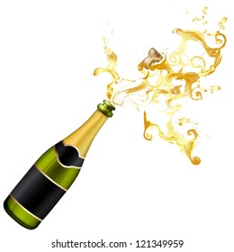 Illustration of explosion of champagne bottle cork